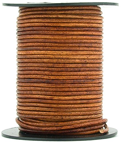 Xsotica Round Leather Cord 2mm Distressed Light Brown (100 meters (109 Yards))
