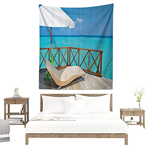 alisoso Wall Tapestries Hippie,Coastal Decor Collection,Parasol and Chaise Lounges Deckchair on a Terrace of Water Villa in Maldives Reef Picture, W32 x L32 inch Tapestry Wallpaper Home Decor
