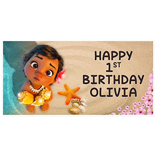 Baby Moana Birthday Banner Personalized Party Backdrop Decoration]()