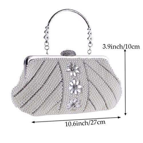 Purse Evening Women Prom and for YANXH Beaded Handbag White Noble Clutch Cocktail Bag Party Pearl Crystal wEqqzPd
