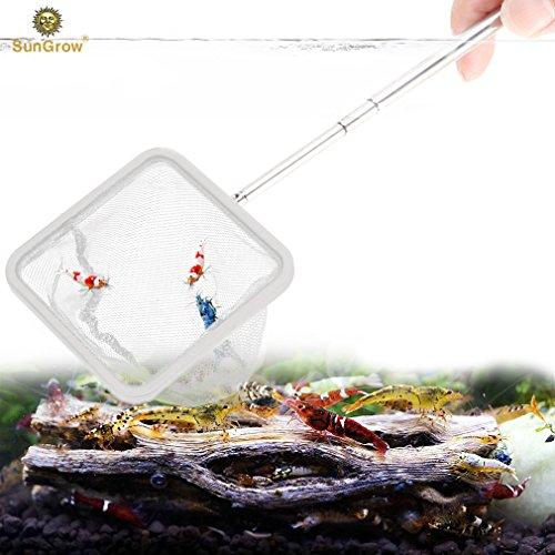 SunGrow Shrimp Net: Professional Grade Stainless Steel Telescopic handle:  Soft woven Fishing Net : Safe for All Aquatic pets: Easily catch shrimp,