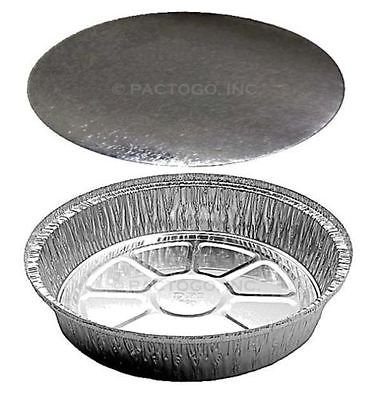 Handi-Foil of America 9'' Round Aluminum Foil Food Take-Out Pan Container w/Board Lid Disposable Tins (pack of 200)