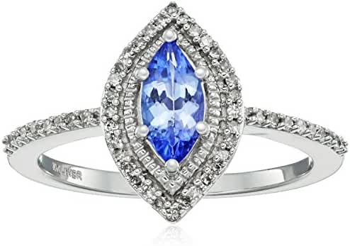 10k White Gold Marquise Tanzanite with White Diamond Fashion Ring