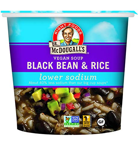 (Dr. McDougall's Right Foods Vegan Lower Sodium Black Bean and Rice Soup, 1.6 Ounce Cups (Pack of 6) Non-GMO, No Added Oil, Whole Grain, Paper Cups From Certified Sustainably-Managed Forests)