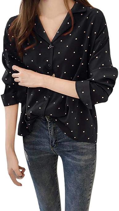 VJGOAL Camisas para Mujer Impresión de Punto de Onda Casual ...