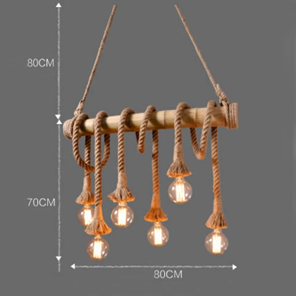 Ting-w Industrial Hemp Rope Bamboo Edison LED Antique Metral 6-light Pendant Hanging Light