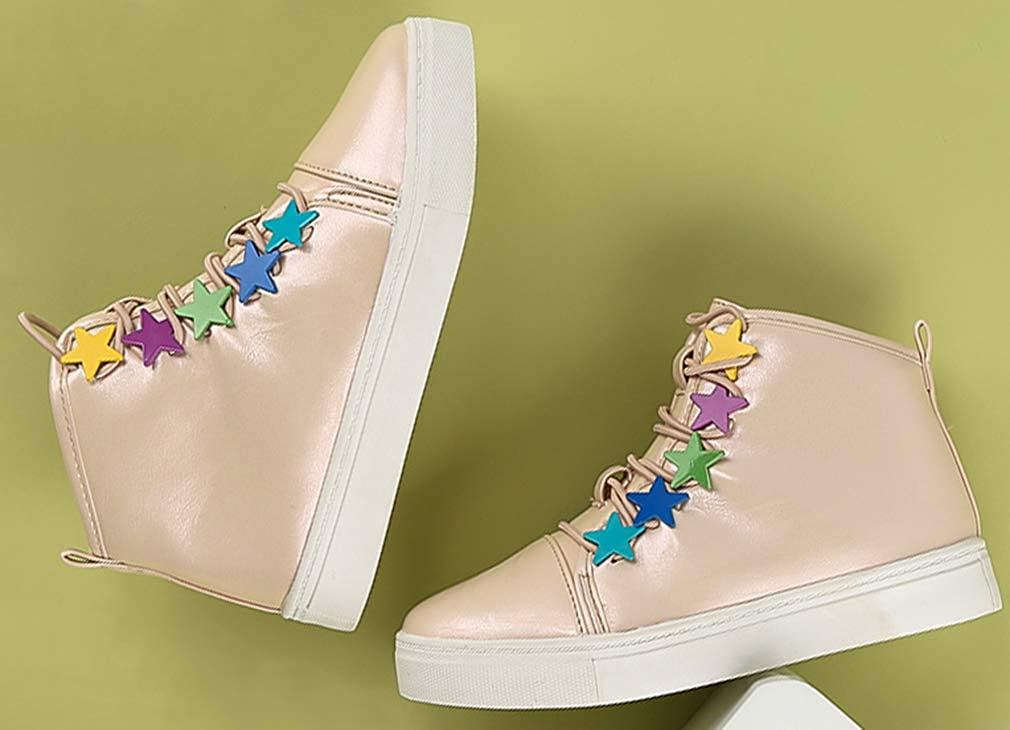 VECJUNIA Girls Fashion High Top Flats with Stars Casual Sneakers Running