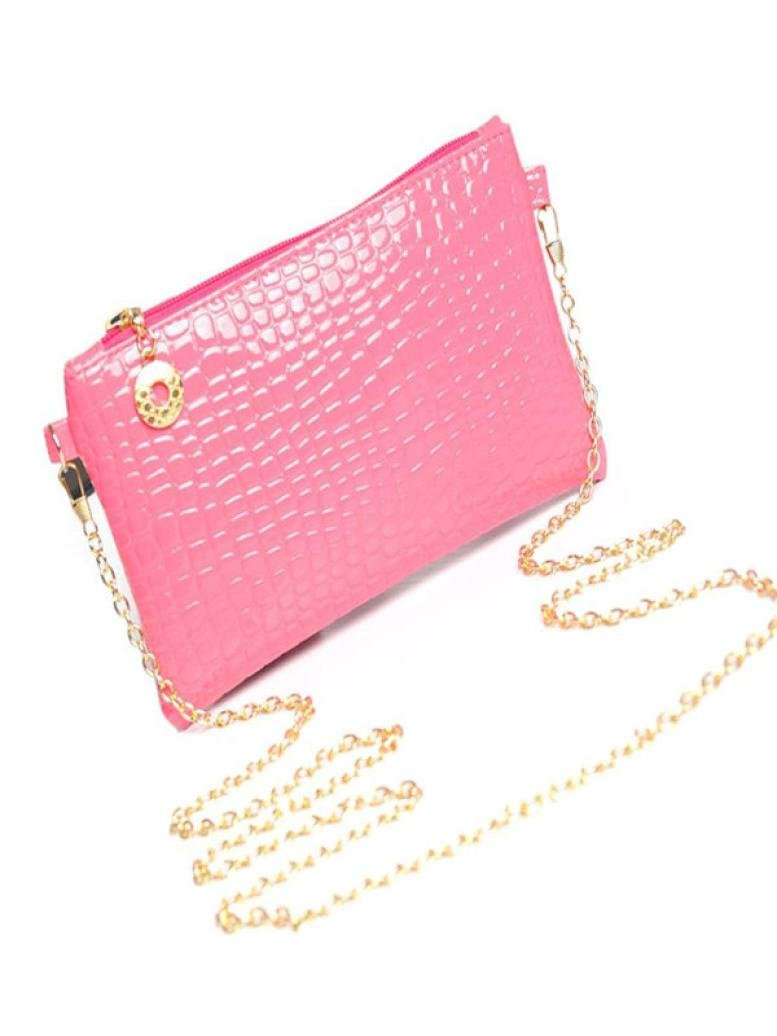 Pocciol Fashion Women Leather Messenger Zipper Shoulder Crossbody Handbag Bag (Hot Pink)