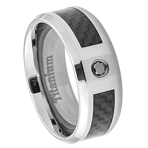 Double Accent 8MM Comfort Fit Titanium Wedding Band Black Carbon Fiber Inlay 0.07ct Black Diamond Ring (Size 9 to - Dad Diamond Ring Accent