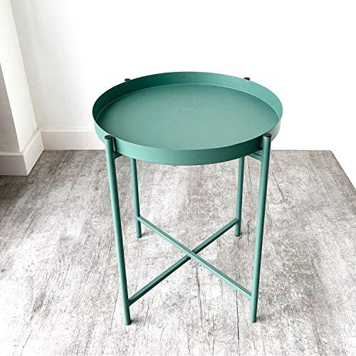 Anti-Rust and Waterproof Tray Metal End Table,Small Round Side Table Outdoor Indoor Snack Table
