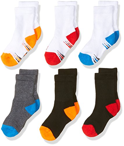 Fruit of the Loom Baby Boys' Crew 6 Pack Sock, Assorted, 4-8.5
