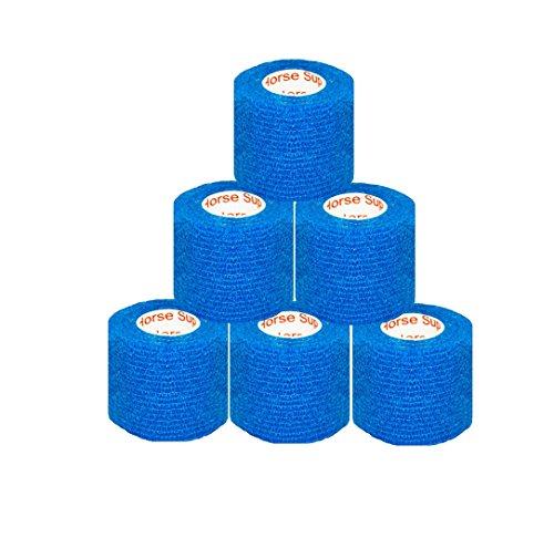 "2"" Medical Wrap Tape Bulk, Self Adherent Rap Tape, Self Adhering Stick Bandage, Self Grip Roll, Power Flex Wrap - 2 inches x 15' Feet - 6 Rolls - Blue by Prairie Horse Supply"