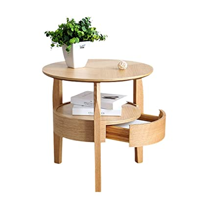 Amazon Com Tltlzdz Small Round Table Home Simple Small Coffee Table Living Room Round Corner Table Solid Wood European Coffee Table Color Natural
