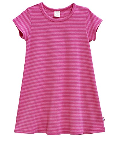 City Threads Big Girls' Cotton Short Sleeve Cover Up Dress for Sensitive Skin SPD Sensory Friendly, Stripe Hot Pink 7
