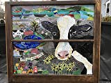 Cow Stained Glass Window Art Sun Catcher, Farm Life