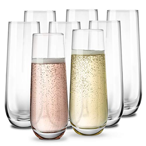 Stemless Champagne Flutes, by KooK, Durable Glass, Set of 8, 10.5oz ()