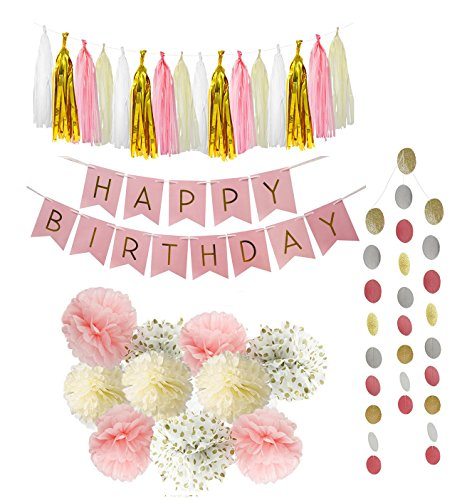PoshPeanut Happy Birthday Decoration Tissue Paper Tassel Polka Dot for Girl Party Decorations First Birthday Circle Garland 21 Pieces Pink, White, Gold