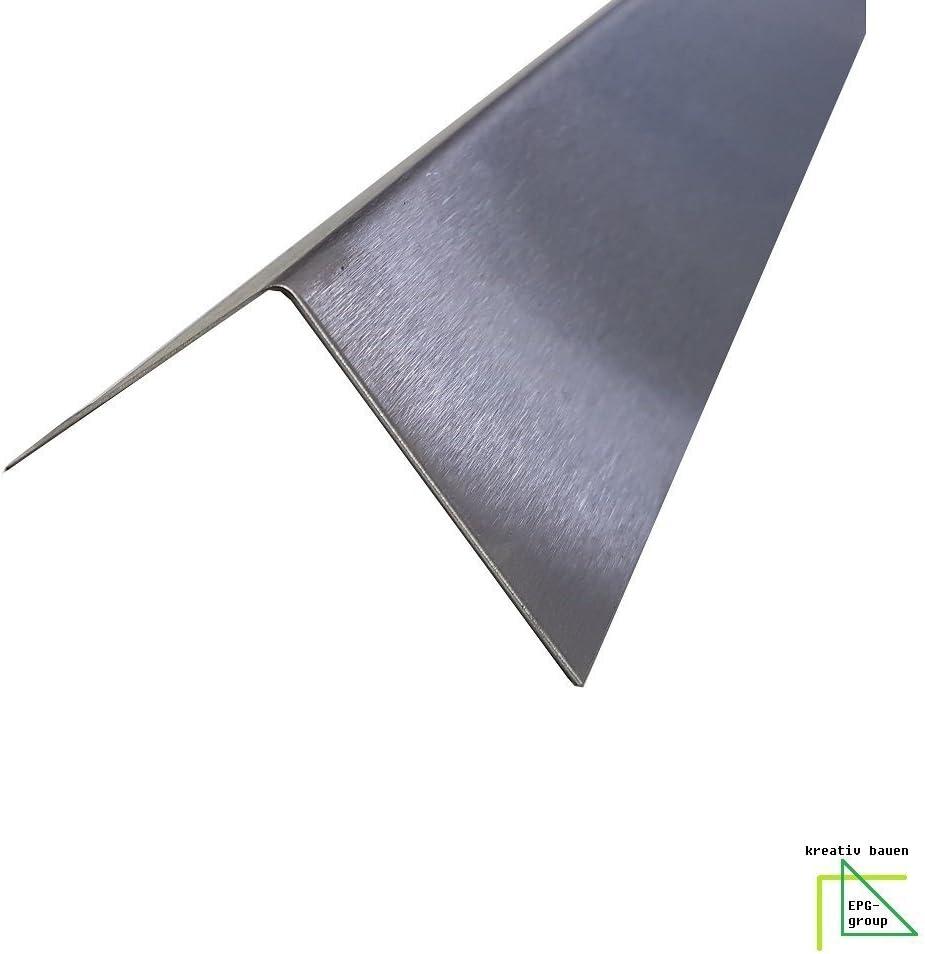 Winkeleck,kreativ bauen 200cm Eckschutzschiene dekorative Winkelleiste Schenkel 7,5x1 cm Edelstahl Schutzleiste 2000mm 75x10 mm K240 geschliffen V2A 0,8mm stark Winkelleiste