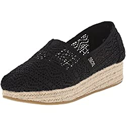 BOBS from Skechers Women's Highlights Amaze Wedge, Black Woven, 8 M US