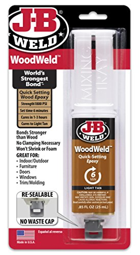 - J-B Weld 50151 Light Tan WoodWeld Epoxy Syringe - .85 fl. oz.