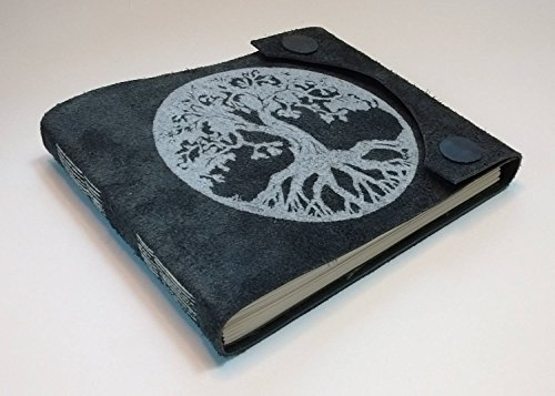 Hand-made leather-bound book with Tree-Of-Life art hand-printed on cover, magnetic snap closures by Jonathan Day Book Art