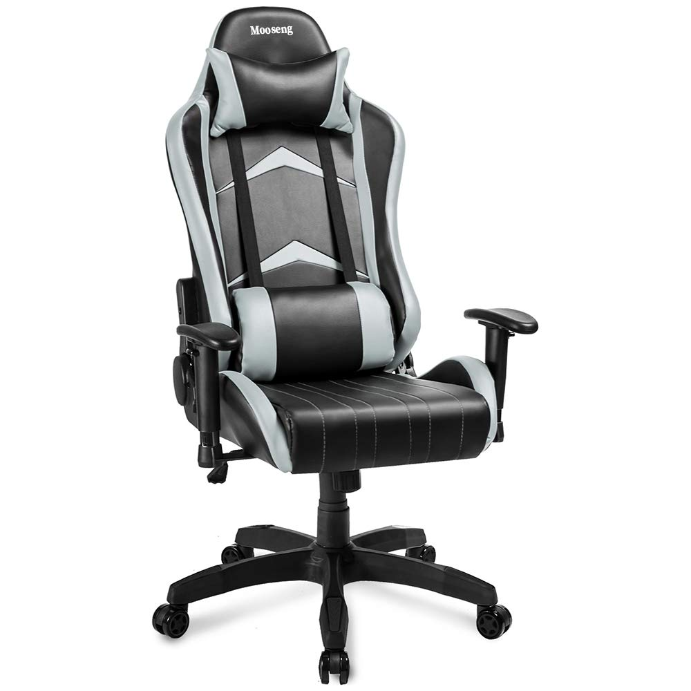 Mooseng Gaming Chair,Racing Style, Adjustable Height High-Back PC Computer Chair with Headrest and Lumbar Support for Computer PU Leather E-Sports Gamer Chairs Gray