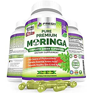 Organic Moringa 180 Capsules – 100% Pure Leaf Powder - Max 1000mg Per Serving - Complete Green Superfood Supplement - Full 3 Month Supply - Miracle Tree Organic Moringa Oleifera Powder Vegan Caps