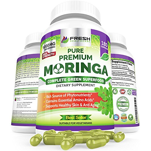 Organic Moringa 180 Capsules - 100% Pure Leaf Powder - Max 1000mg Per Serving - Complete Green Superfood Supplement - Full 3 Month Supply - Miracle Tree Organic Moringa Oleifera Powder Vegan Caps (Best Fat Burner In India)