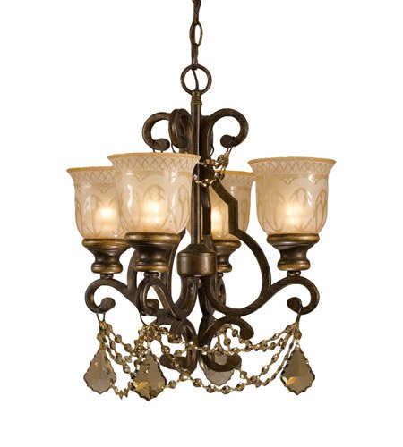 Mini Chandeliers 4 Light With Bronze Umber Golden Teak Hand Cut Amber Etched Wrought Iron 17 inch 240 Watts - World of Lighting