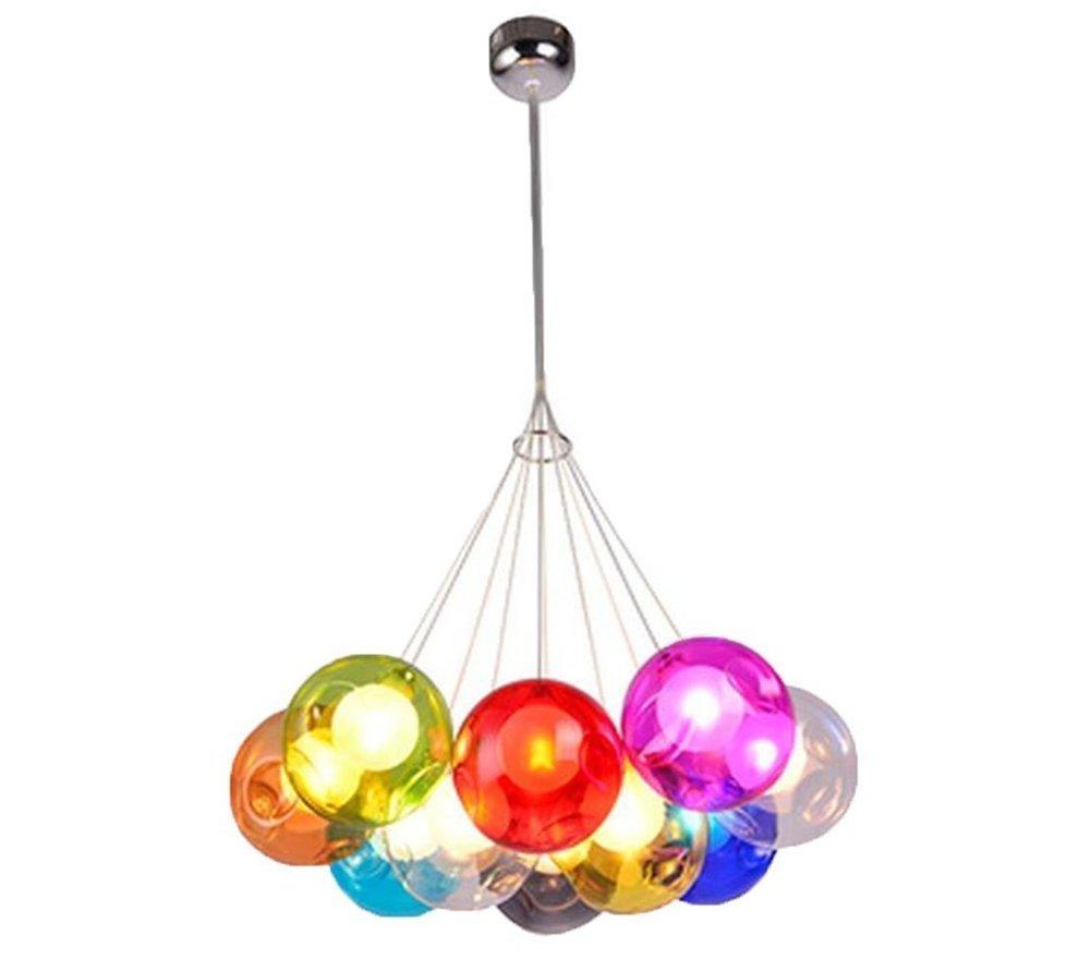 Kronleuchter Pendel Leuchter Hängeleuchte Pendelleuchte Farbige Bubble Ball Lampe Glas Esszimmerlampe Für Mehrflammige Leuchten Buntglas Höhenverstellbare 100CM (Farbe   10 head)