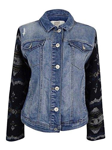 Vintage America Womens Octillo Mixed Media Faded Denim Jacket Blue M ()