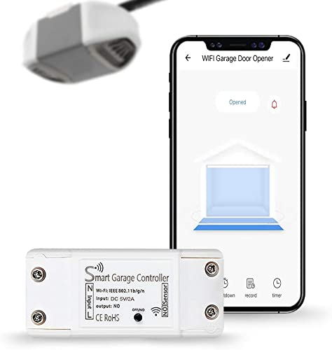 LERWAY Smart WiFi Garage Door Opener Remote Control, APP Control, Compatible with Amazon Alexa, Google Assistant, IFTTT, no Hub Required White