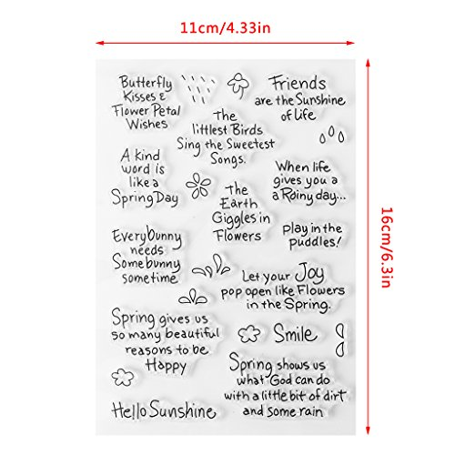 Seaskyer Spring Wishes Clear Stamps Sheet Transparent Silicone Seal For DIY Scrapbooking Craft Card Photo Album Decorative Christmas Valentine#039s Day Halloween Gift