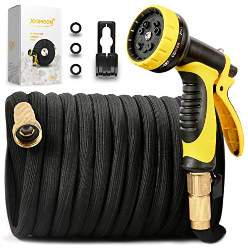 [New Double Strength Flexible]Expandable Garden Hose 75ft,Lightweight Water Hose with Latex Core with 3/4 Solid Brass Fittings,10 Function Hose Nozzle,Heavy Duty Fabric for Watering Garden,Cleaning