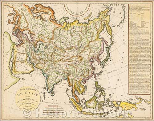 - Historic Map | Carte Generale de L'Asie Divisee en ses Principaux Etats/Map of Asia, published by Felix Delamarche, 1823, Felix Delamarche | Vintage Wall Art 44in x 35in