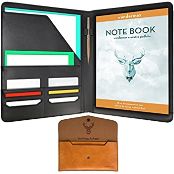 Wundermax Padfolio Portfolio/ Executive Leather Padfolio   Bonus Wallet,  Bookmark U0026 Notebook   Professional  Leather Resume Portfolio