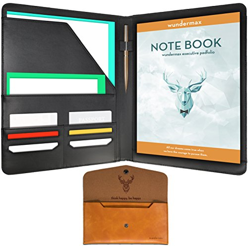 Case Notepad (Wundermax Padfolio Portfolio/Executive Leather Padfolio - Bonus Wallet, Bookmark & Notebook - Professional Gift for Business, Interview, Resume - Black)