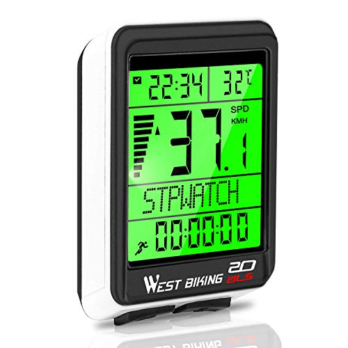 WESTGIRL Bicycle Computer, 5 Languages Bike Speedometer Odometer Wireless Waterproof, Multifunctional Cycle Computer LCD Backlight, Cycling Accessories