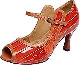 Abby Q-6188 Womens Sexy Latin Tango Ballroom Cha-cha PU Dance-Shoes Orange M US Size10.5