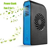 Power Bank Cooling Fan, Joysoul Portable Bladeless 3 speed Travel Fan Pocket Fan Desk Box Fan, 6000mAh Power Bank Rechargeable Fan for Home Office Travel Daily Use (Black)
