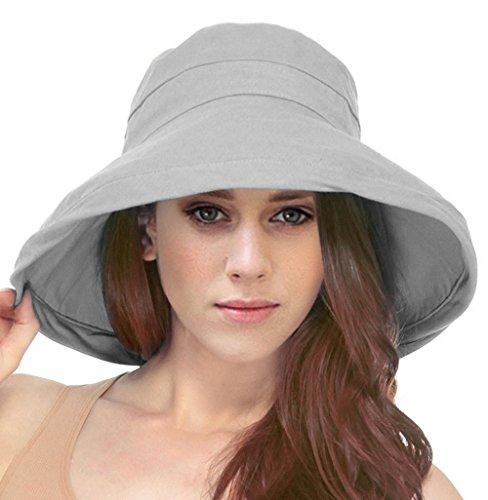 - Simplicity Summer Solid Cotton Bucket Hat with Big Fold-Up Brim, Grey