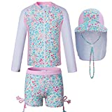Kids Swimsuits Toddler Girl Two-Piece Swimsuits with Sun Hats UPF 50+uv (6(37.4-41.3in Height))