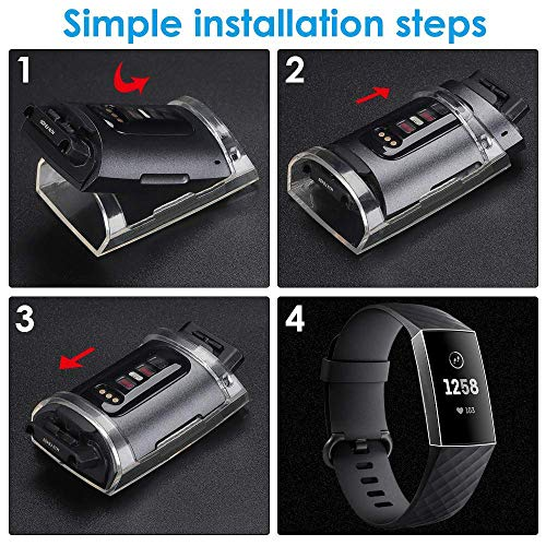 KIMILAR Screen Protector Case Compatible with Fitbit Charge 4 / Charge 3 , 2 Pack Soft Slim Ultra Clear Protective Case Cover Bumper Silicone Case Compatible with Fitbit Charge 4 / Charge 3 Smartwatch