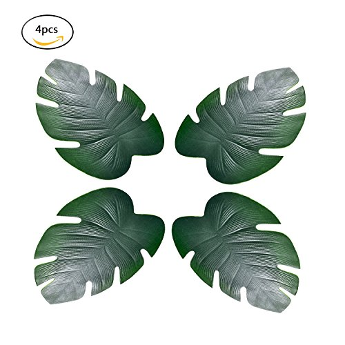 Menghao 4pcs Tropical Hawaii Large Palm Leaves Placemats Thickening Environmental protection materials for Dinner Parties Summer & Outdoor (Tropical Palm Dinner)