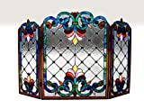 Tiffany Style Stained Glass Victorian Fireplace Screen