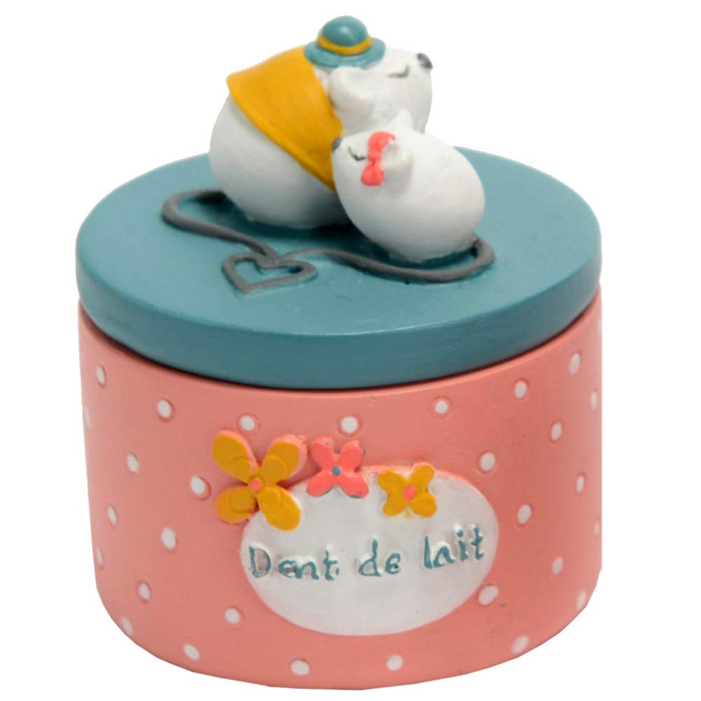 LE MONDE DES ANIMAUX Petite Boite Rose et Bleue en résine à Dents de Lait Souris