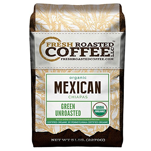 Fresh Roasted Coffee LLC, Green Unroasted Mexican Chiapas Coffee Beans, USDA Organic, 5 Pound Bag