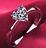 Cutedoumiao Cushion Love Heart CZ Engagement Rings for Women Cubic Zirconia Promise Halo Engagement Ring 925 Sterling Silver Solitaire Engagement Ring (8)