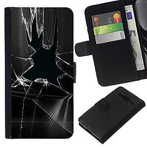 All Phone Most Case / Oferta Especial Cáscara Funda de cuero Monedero Cubierta de proteccion Caso / Wallet Case for Samsung Galaxy Core Prime // Broken Glass Window Prank Black White