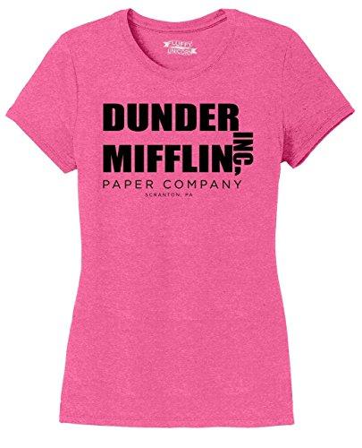 Ladies Tri-Blend Tee Dunder Mifflin A Paper Company Funny TV Show Shirt Fuchsia Frost 3XL